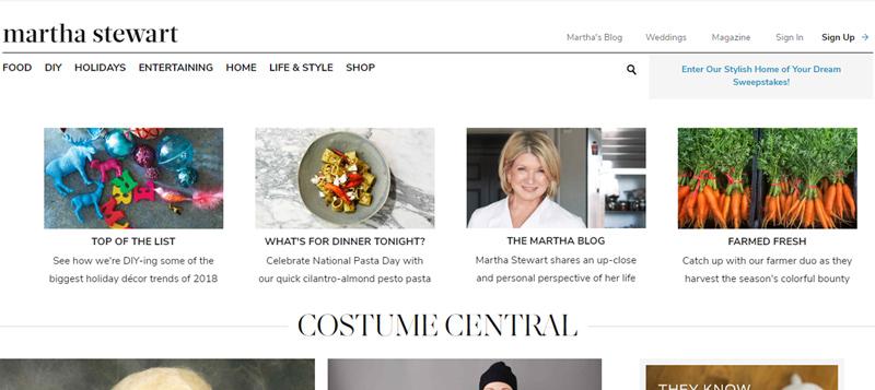 marthastewart.com website - Personal Branding Example